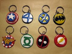 Superhero keychains that I made out of polymer clay... I think that is what it is called takamisaurus-rex