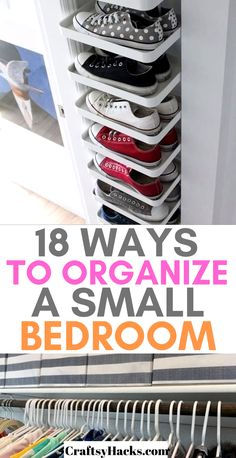 Organize small bedroom with these simple but effective organization hacks. There… Organize small bedroom with these simple but effective organization hacks. There is nothing better than organizing a small space and feeling in control of your home storage. Organisation Hacks, Organizing Hacks, Organizing Your Home, Diy Organization, Organization Ideas For The Home, Dollar Store Organization, Home Storage Ideas, Scrapbook Room Organization, Clothing Organization