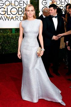 Diane Kruger in classic old hollywood style silver metallic Emilia Wickstead gown at Golden Globes 2015 Red Carpet. Diane Kruger, Celebrity Red Carpet, Celebrity Dresses, Celebrity Style, Celebrity Jewelry, Celebrity Photos, Golden Globe Awards 2015, Golden Globes, Glamour Mexico