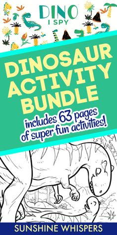 Do your kids love dinosaurs? If they do, they will love this 63-page dinosaur-themed printable pack from Sunshine Whispers! It is full of fun activities for your prehistoric dinosaur loving kids! Included is a 40-page coloring book featuring pretty much any dinosaur your kids would want to color. There are also a variety of dinosaur games and activities including action cards, a code matching activity, I-Spy, and more.  #dinosaurs #printables #kidsactivities #coloring Dinosaur Games, Dinosaur Activities, Dinosaur Crafts, Fun Activities For Kids, Family Activities, Dinosaur Printables, Free Printables, Action Cards, Dinosaur Coloring