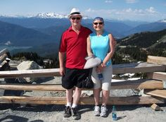 July 2012 at the Blackcomb Mtn side of the Peak to Peak. Nice lady from England took this for us. She had been freaked out by the way the gondola started, but then enjoyed the ride.