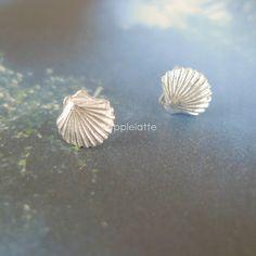 tiny seashell earrings in sterling silver 925, seashell, shell post earrings on Etsy, $23.80