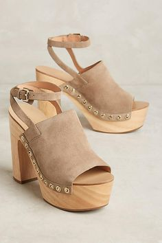 Sigerson Morrison Quella Clogs Flint 8.5 Wedges