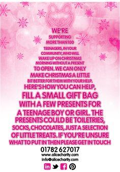 Teenage kicks Christmas appeal Small Gift Bags, Christmas Morning, Charity, Boy Or Girl, Kicks, Alice, Personalized Items, How To Make