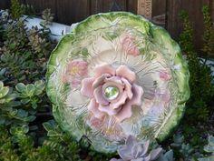 Plate Flower. #294  Drought Resistant.           Garden Yard Art glass and ceramic plate flower
