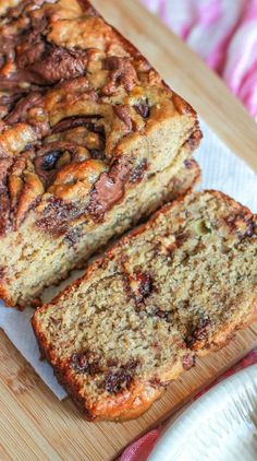 Super-moist banana bread swirled with Nutella and peanut butter cups. There won't be a crumb leftover!