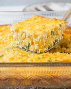 This creamy corn casserole is filled with naturally sweet corn, cheese and jalapenos, all baked in a silky custard. Made from scratch with no cornbread mix. Creamy Corn Casserole, Vegetable Casserole, Dinner Casserole Recipes, Delicious Dinner Recipes, Yummy Recipes, Cornbread With Corn, Cornbread Mix, Sweet Hawaiian Crockpot Chicken Recipe, Homemade Egg Rolls