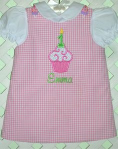 Girls Birthday Cupcake Jumper Personalized by gumdropgrove on Etsy, $34.00