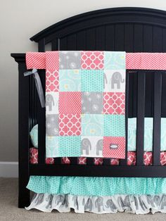 Custom Crib Bedding, Baby Bedding - Mint, Grey Elephant and Coral Baby Girl Bedding