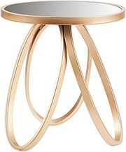 This Otis Accent Table brings elegance to any room with its modern shape. Featuring a faux gold leaf finish and antique mirror tabletop, this end table is sure to shine in the living room or home office. Mirrored Accent Table, Tableau Design, Forging Metal, Drink Table, Grey Glass, Metal Bands, End Tables, Antique Gold, Antiques
