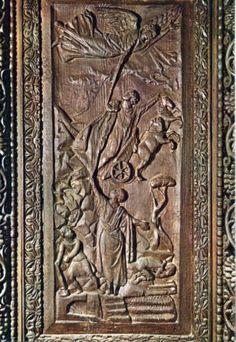 Porta di Santa Sabina all'Aventino - Formella con il rapimento in cielo del profeta Elia. Dei 28 pannelli originali oggi se ne conservano solo 18.