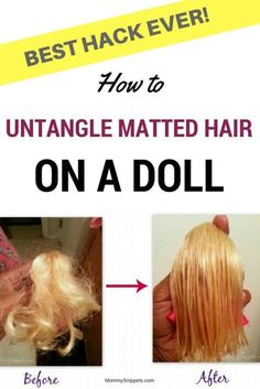 How to untangle matted hair on a doll. (Best hack ever!) How to untangle matted hair on a doll. Barbie Hair Fix, Fix Doll Hair, Baby Doll Hair, Doll Hair Detangler, Doll Hair Repair, American Girl Hairstyles, Matted Hair, Hair Fixing, Tips