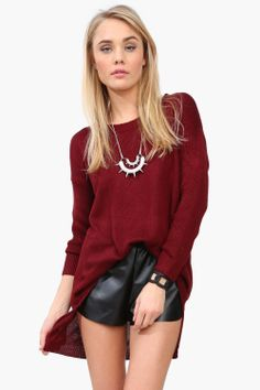 torn knit sweater and necklace!