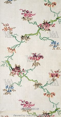Dress fabric with floral branch pattern, designed by Anna Maria Garthwaite (1690-1763). Silk. Spitalfields, London, England, 1748.