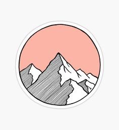 Mountains Sketch by smalltownnc Diy Stickers, Sticker Ideas, Printable Stickers, Sketchbook Inspiration, Art Sketchbook, Prismacolor Art, Mountain Sketch, Watercolor Paintings For Beginners, Mountain Pictures