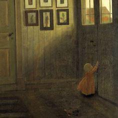 "Ivar Arosenius, ""The girl at the door.  Interior of the artist, 1908"