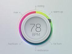 BPM Counter designed by Kai Aras. News Web Design, Ui Ux Design, Graphic Design, Ui Patterns, Mobile Ui Design, Health App, Ui Elements, User Interface Design, Web Design Inspiration