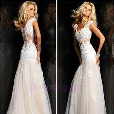 2015 New custom Long Lace Evening Dresses Cap Sleeve V-Neck Mermaid See Through Prom Dress