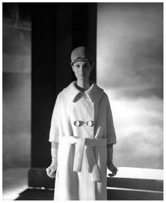Actress Karen Blanguernon in Shetland wool coat with large buttons by Pierre Cardin, photo by Georges Dambier, ELLE, March 11, 1960