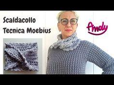 Scaldacollo Tecnica Moebius uncinetto semplice - YouTube Tunisian Crochet, Easy Crochet, Crochet Lace, Crochet Patterns, Knitting, Handmade, Youtube, Scarves, Caps Hats