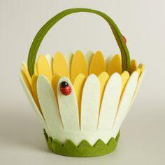 Ladybugs on Daisy Felt Easter Basket | World Market