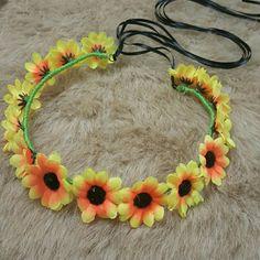 **Flower headband neon orange sunflower festival Handmade festival Neon yellow and orange flower headband with adjustable back. Accessories Hair Accessories