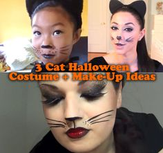 3 Cute Cat Halloween Costume And Make-Up Ideas For Kids And Adults Adult Cat Costume, Black Cat Halloween Costume, Black Cat Costumes, Halloween Kids, Halloween Makeup, Halloween Treats, Kitty Face Paint, Cat Face, Cat Costume Makeup