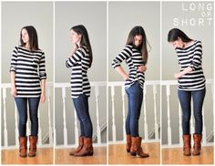 DIY how to shorten a shirt without having to cut the original length of shirt  I love this!