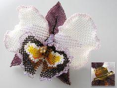 Wine and lavender cattleya beaded corsage/brooch. Flower 12 cm wide.