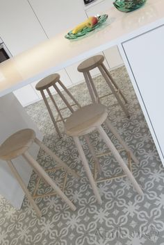 Cementtiles kitchen - Azule 09 - Project van Designtegels.nl