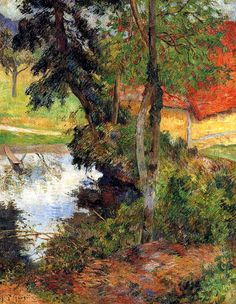 Paul Gauguin. Red Roof by the Water