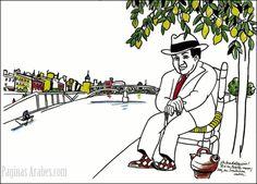 Antonio Machado, sentado a orillas del Guadalquivir a su paso por Sevilla. ©Alfredo González.