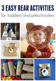 Three Easy Bear Themed Activities for Toddlers and Preschoolers Toddler Approved!: Three Easy Bear T Bear Activities Preschool, Bear Crafts Preschool, Fairy Tale Activities, Brown Bear Activities, Indoor Activities, Family Activities, Learning Activities, Preschool Colors, Winter Activities