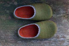 O'Green  / Felted wool slippers in earthy green and by Onstail, $94.00