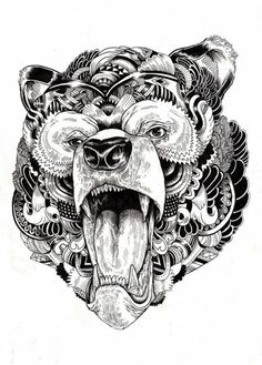 Art drawings, fantasy drawings, tribal bear, arte doodles zentangles, t Art And Illustration, Animal Illustrations, Illustrations Posters, Animal Drawings, Art Drawings, Arte Viking, Tribal Bear, Kunst Tattoos, Fantasy Drawings