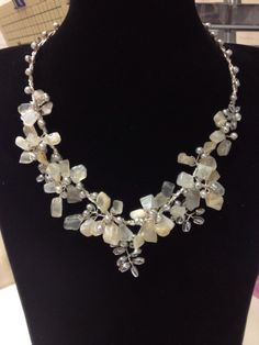 Genuine gemstone necklace, using pearls, moonstone and agate