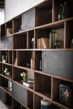 Shop the Password Bookcase and more contemporary furniture designs by Riva 1920 at Haute Living. Home Library Design, Home Room Design, Home Office Design, House Design, Living Room Bookcase, Living Room Wall Units, Decorating Bookshelves, Bookshelf Design, Home Theaters