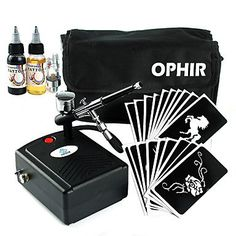 HJLWST OPHIR 0.3mm Dual-Action Airbrush Kit for Tattoo Body Paint with 30ml Ink Stencil Black Air Compressor_OP-BP004B *** See this great product.