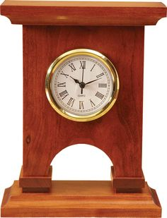 "Styled after the actual Arc de Triomphe in Paris, France, this clock kit features a white Roman dial insert with a beautiful convex glass lens. The simplicity of this clock kit would make a great project for beginner woodworkers.  Wood: Cherry  Kit Includes all wood parts (pre-machined and factory sanded) required for assembly. The kit will also include the clock insert, ""N"" cell battery, glue, sandpaper and step-by-step assembly instructions with supporting assembly illustrations."