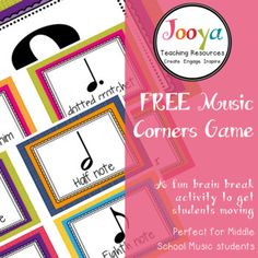 """This is a fun music game is the perfect way to get your students up and moving for a brain break or end of lesson activity. Included in this resource are: • Large """"corners"""" posters • Game caller cards • US and UK Note names - both versions included • Blanks to add your"""