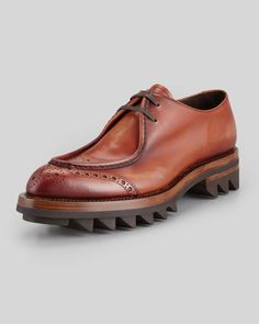 Prada Runway Lug-Sole Wing-Tip, Brown - Neiman Marcus New Shoes, Men's Shoes, Shoes Sneakers, Dress Shoes, Mens Shoes Boots, Leather Shoes, Shoe Boots, Neiman Marcus, Fashion Shoes