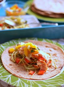 Salmon & mango salsa tacos