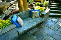 garden bench using natural stone