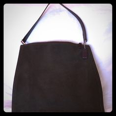 """Coach Suede Bag Suede dark moss green with chocolate leather trim. In perfect condition. Measures 12"""" H x 14"""" w Coach Bags"""