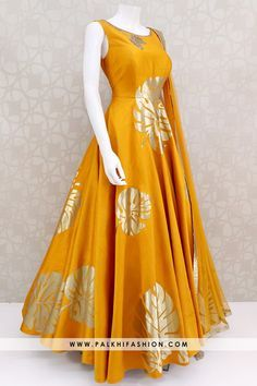 golden yellow soft raw silk indian designer outfit from palkhi fashion featuring gold applique,petite stone,cutdana work highlighted with appealing pattern Indian Fashion Dresses, Pakistani Dresses Casual, Indian Gowns Dresses, Indian Bridal Outfits, Dress Indian Style, Pakistani Dress Design, Indian Designer Outfits, Indian Designers, Designer Party Wear Dresses