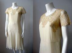 1920s dress / vintage flapper silk chiffon by Stardust