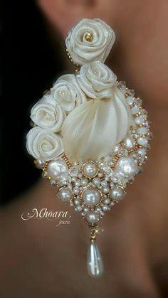 'Ivory Dream ' earrings - shibori silk -silk ribbons - by Mhoara Jewels                                                                                                                                                      More