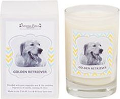 Aroma Paws - Breed Candle - Golden Retriever Glass In Box - 5 oz - 838156002261 .  GOLDEN RETRIEVER:  VANILLA NUTMEG All Natural Soy Wax Candles in 31 Breeds.  5 oz. Glass Candle in Decorative Gift Box, Great Gift Idea!