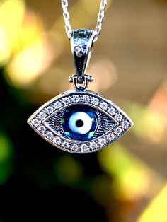Sterling Silver Evil Eye Necklace with chain