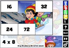 Practice multiplications with winter puzzles Winter Games, Multiplication, Puzzles, Family Guy, Fictional Characters, Puzzle, Riddles, Fantasy Characters, Jigsaw Puzzles